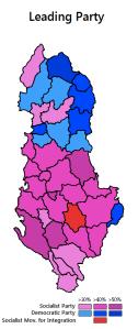 Wybory parlamentarne 2013. niebieski - Partia Demokratyczna czerwony - Partia Socjalistyczna