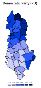 Wybory parlamentarne 2013 - poparcie dla Partii Demokratycznej (prawica)